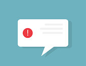 Error message. Alert window with exclamation mark in red circle. White bubble message. Warning dialogue template. Notification screen. Isolated error window. Caution sign. Vector EPS 10