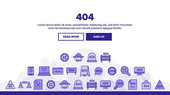 404 HTTP Error Message Landing Header Vector