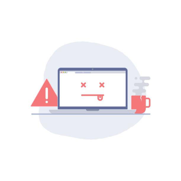 Error page, dead emoji illustration Error page, dead emoji illustration error message stock illustrations
