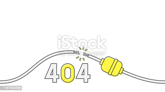404 error page design concept. Damaged electric cable. Vector illustration