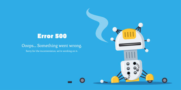 Error page design Web page ERROR 500. Broken robot icon. Flat style illustration. mistake stock illustrations
