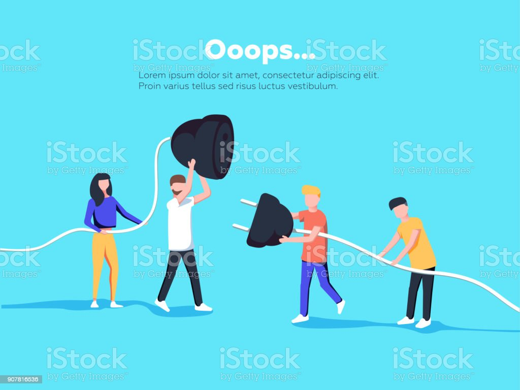 Error page illustration. People holding unplugged cable. Page not found. vector art illustration