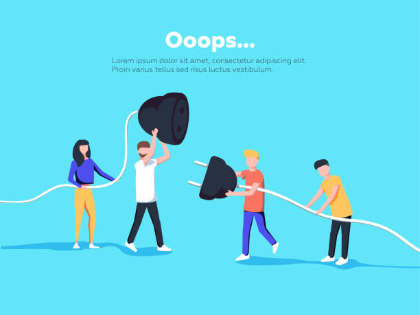 Error page illustration. People holding unplugged cable. Page not found. Error page illustration. People holding unplugged cable. Page not found. Vector concept illustration for 404 error with Funny cartoon workers repairs website. mistake stock illustrations