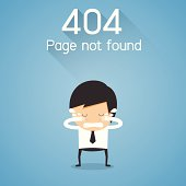404 Error Page not found. businessman cry concept