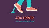 istock 404 error page not found. Foot stuck into chewing gum on the street. Went wrong. Vector flat cartoon illustration 1277848373