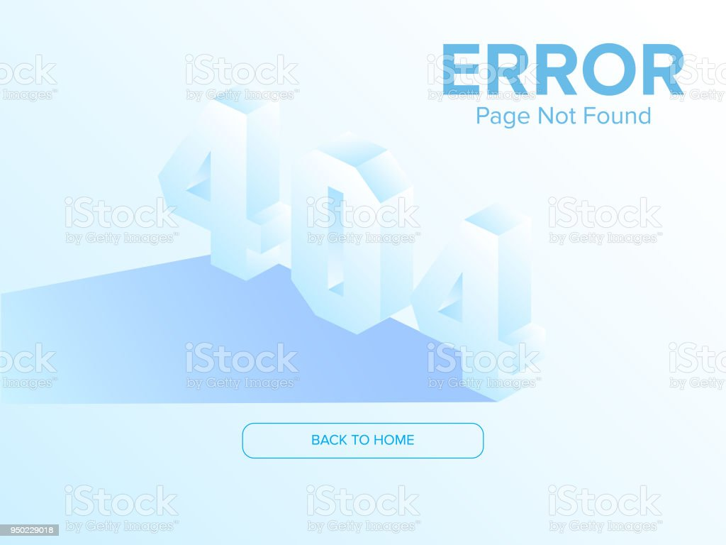 404 Error Page Not Found In 3d Style Vector Graphic Stock Art Royalty Free