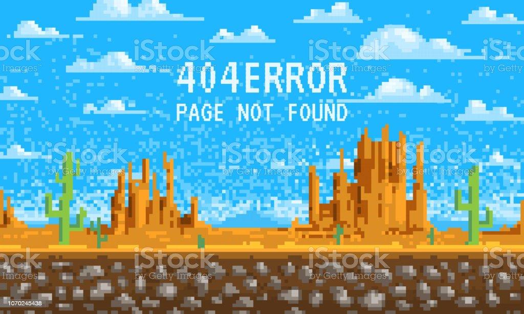 404 エラー ページ。見つかりません。背景, ドット絵, web サイトの 8 ビット ゲーム デジタル ヴィンテージスタイルを風景します。山の上の雲.インターネット接続の問題のコンセプトです。 ベクターアートイラスト