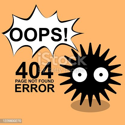 istock 404 error page not found template with A cute monster for webpage, landing page, illustrator vector 1225830270
