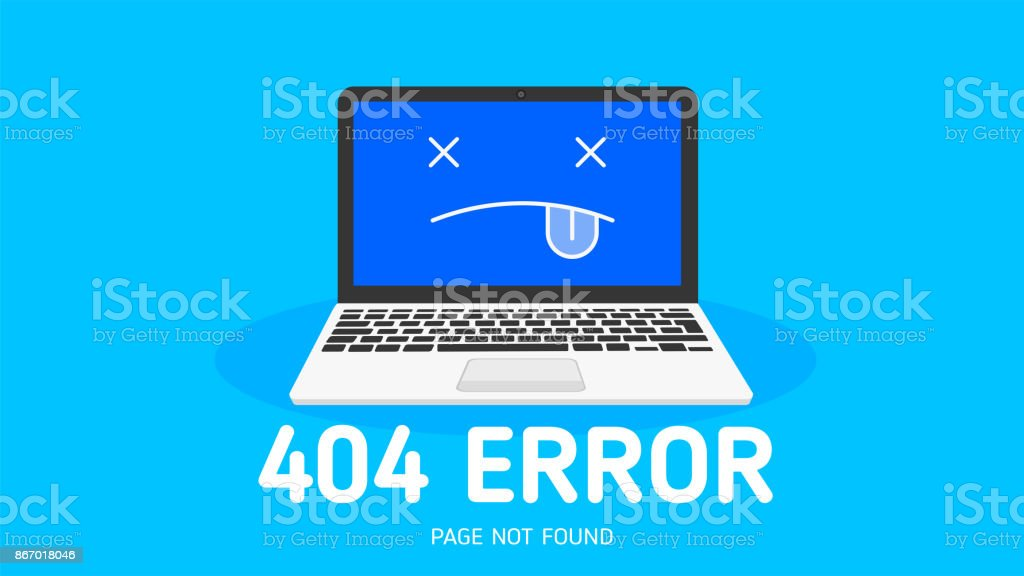 404 Error page not found vector art illustration