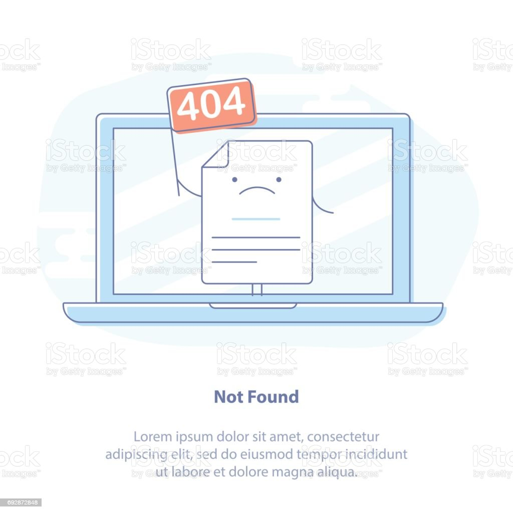 404 Error Page or File not found icon vector art illustration