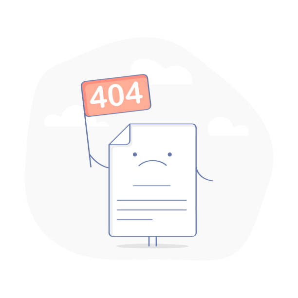 404 Error Page or File not found icon 404 Error Page or File not found icon. Cute upset Page with flag 404 symbol. Oops or Connection Problem, Page does not exist concept. Flat modern outline icon concept, isolated vector illustration. mistake stock illustrations