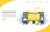 404 error page vector website landing page design template