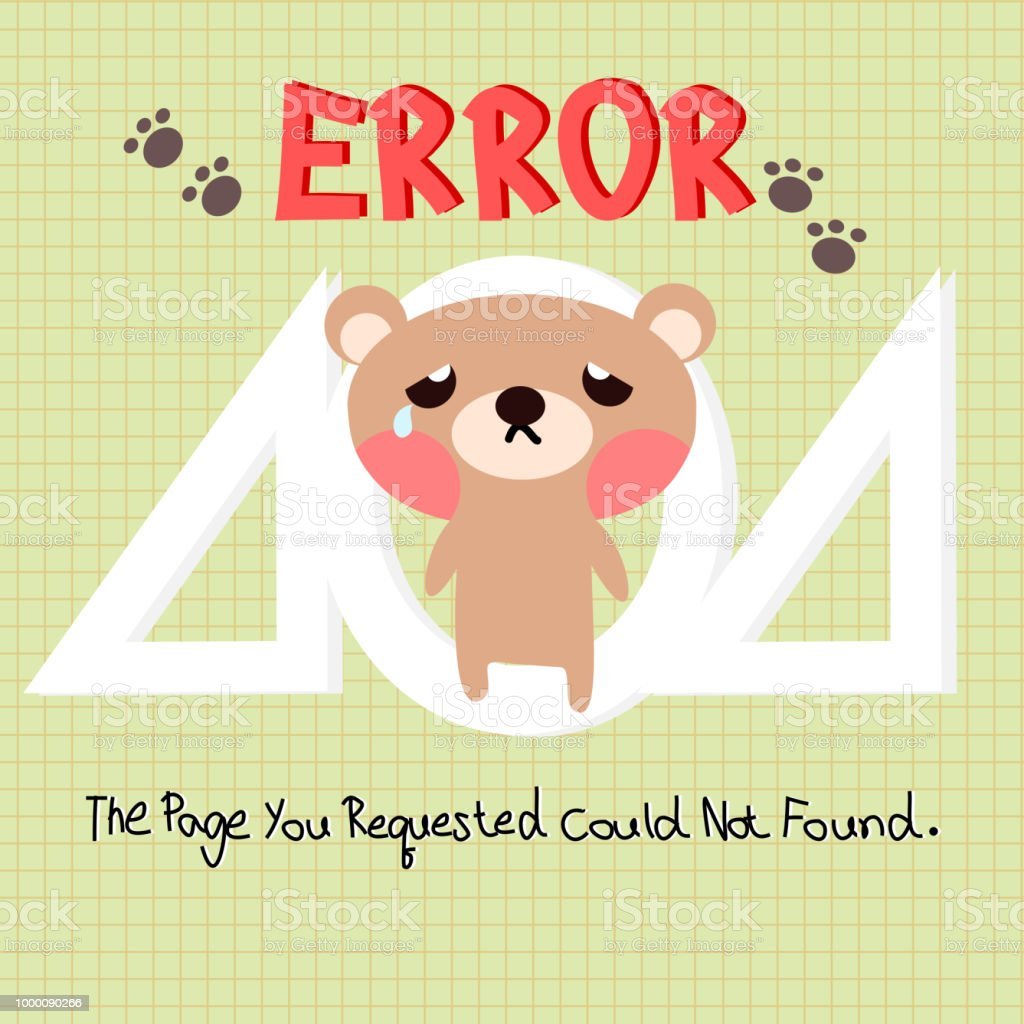 404 error web template with bear background stock vector art more