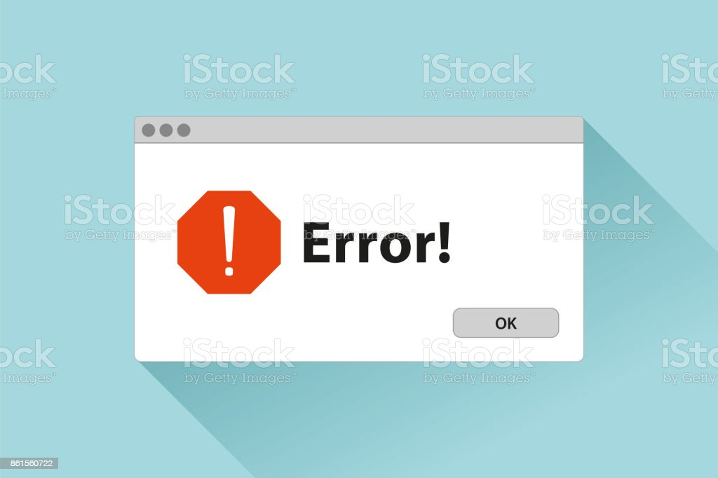 Error window in flat style, stop signs, pop-up page, vector design object for you project