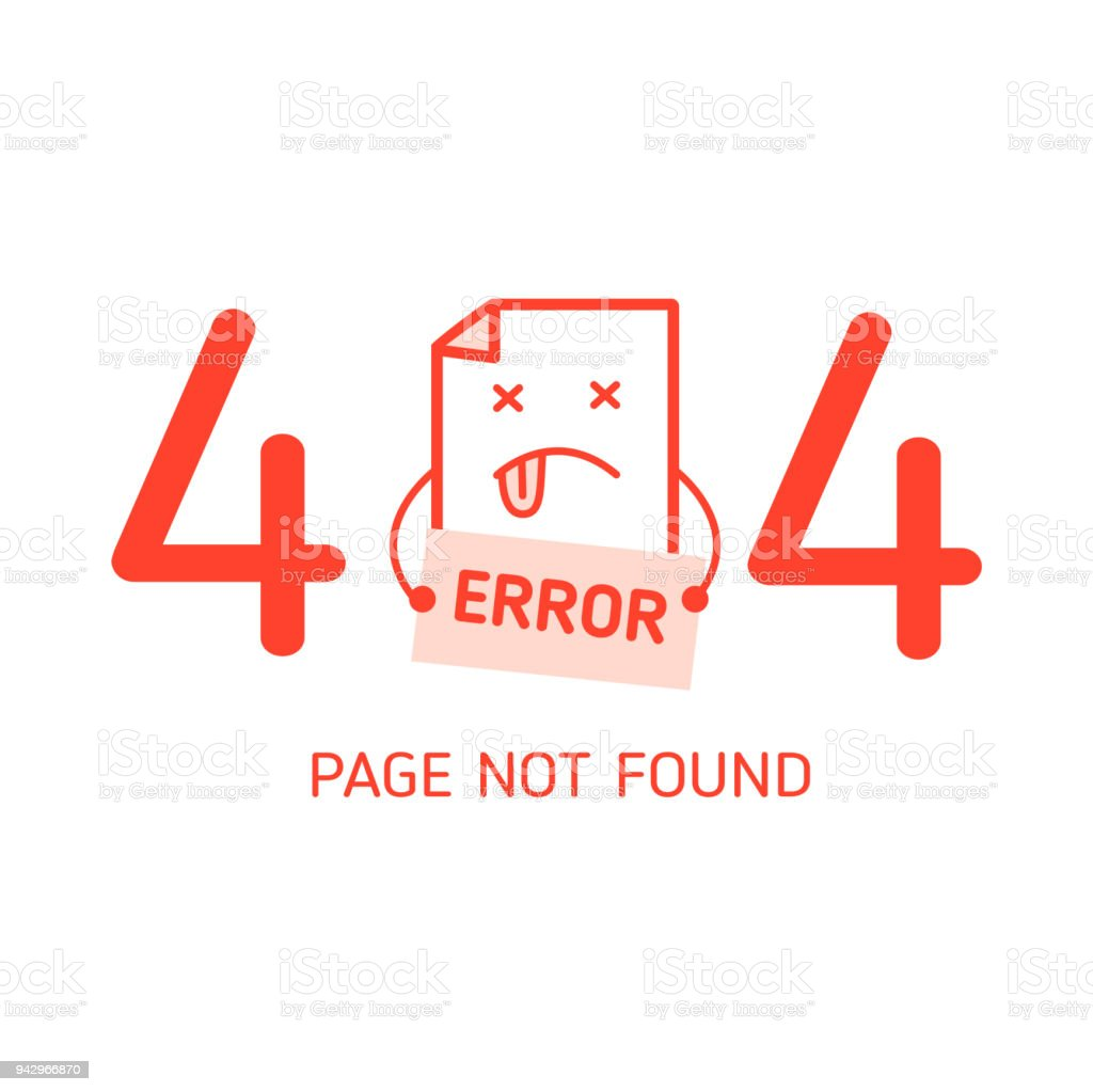 404 Error With Character Error Design Template For Website In White