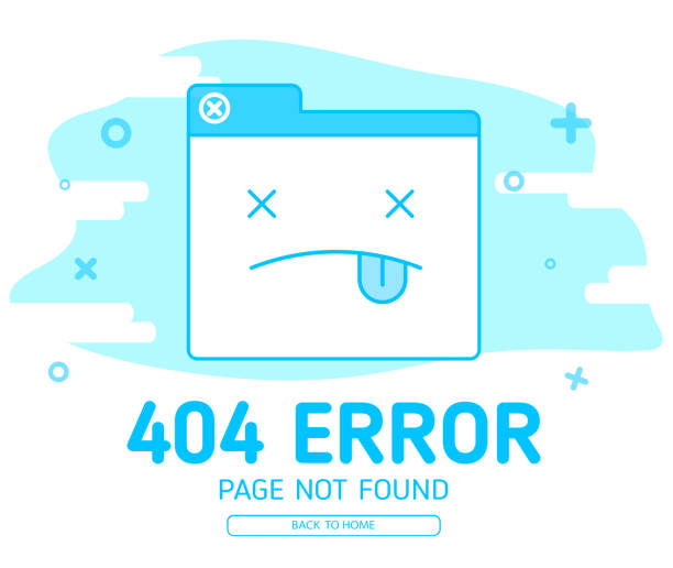 404  error with icon tab website error 404  error with icon tab website error design template for website with blue background graphic error message stock illustrations