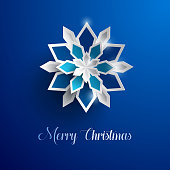 Vector illustration of paper art style Christmas snowflakes. Christmas decoration.