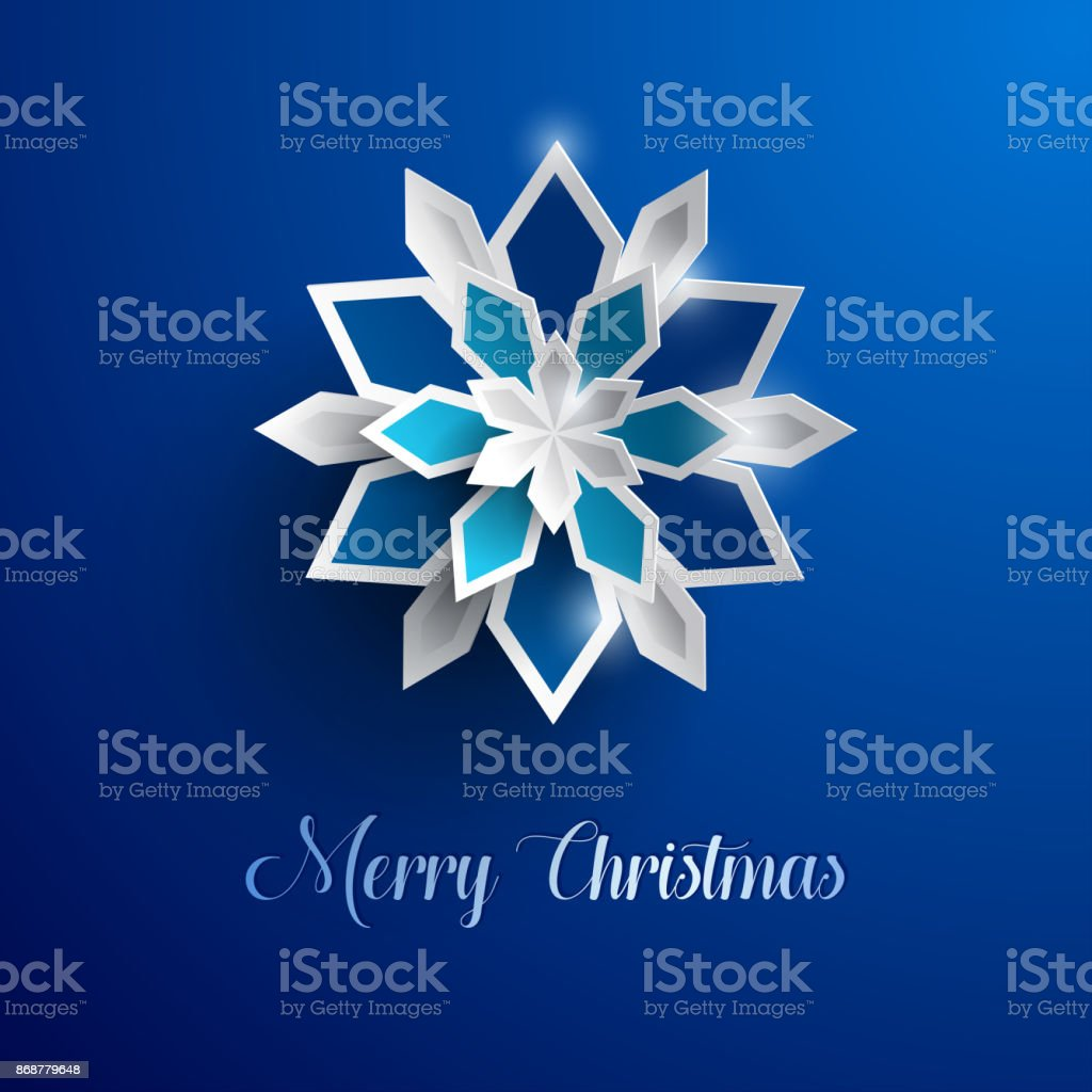 erry Christmas greeting card. Paper graphic of Christmas snowflakes. vector art illustration