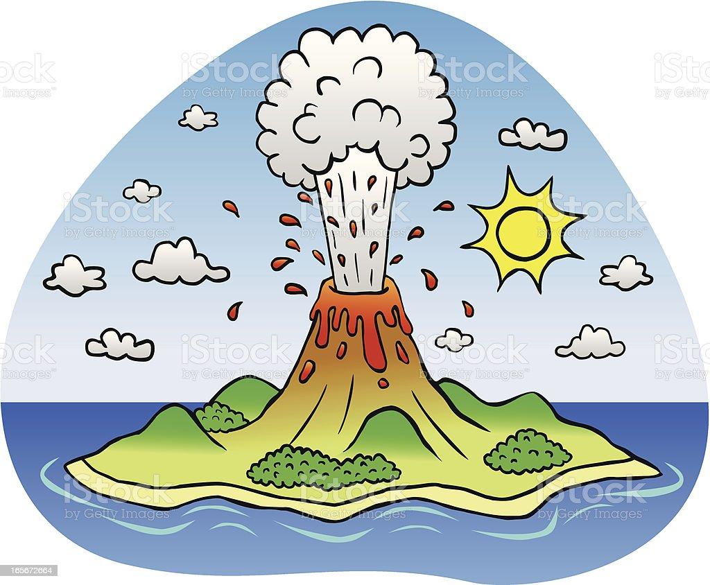Erupting volcano island royalty-free stock vector art
