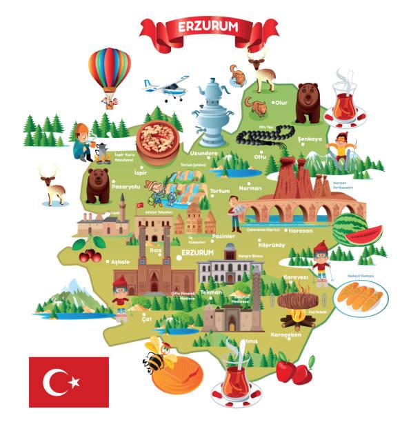 ilustraciones, imágenes clip art, dibujos animados e iconos de stock de erzurum, turquía, yakutiye, palandoken, aziziye, khorasan, oltu, pasinler, kavazi, hinis, tekman, askale, karacoban, senkaya, cat, tortum, koprukoy, ispir, narman, uzundere, es, pazyolu, mapa de dibujos animados, turquía - mapa de oriente medio