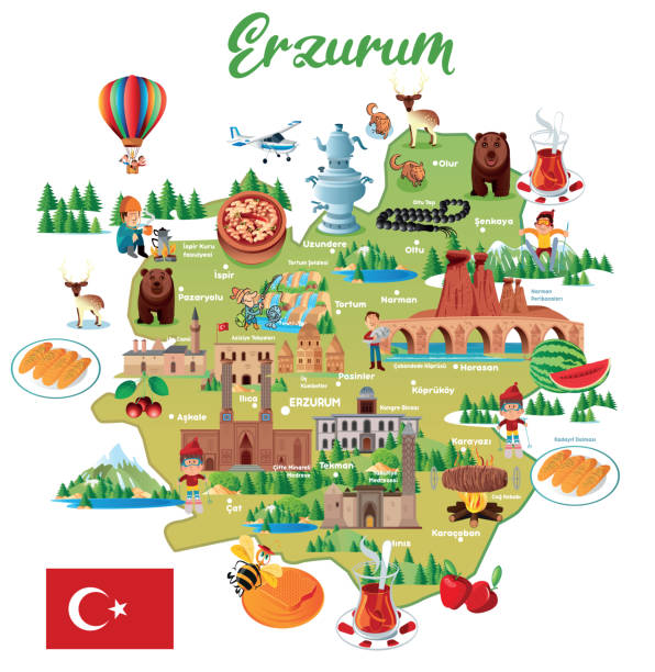 stockillustraties, clipart, cartoons en iconen met erzurum, turkije, yakutiye, palandoken, aziziye, khorasan, oltu, pasinler, kavazi, hinis, tekman, askale, karacoban, senkaya, kat, tortum, koprukoy, ispir, narman, uzundere, is, pazyolu, cartoon kaart, turkije voorraad illustratie artvin provincie, asia, k - erzurum