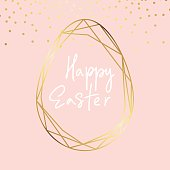 Rose Golden foil Happy Easter hand lettering greeting card.Vector modern copper geometric egg. Art Deco classy design template.Hand drawn Holiday typography.