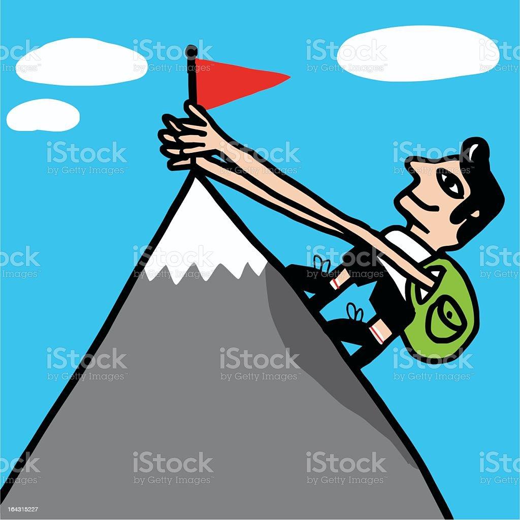 Escalador alcanza cima de montaña royalty-free stock vector art