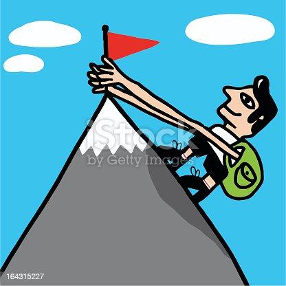 istock Escalador alcanza cima de montaña 164315227