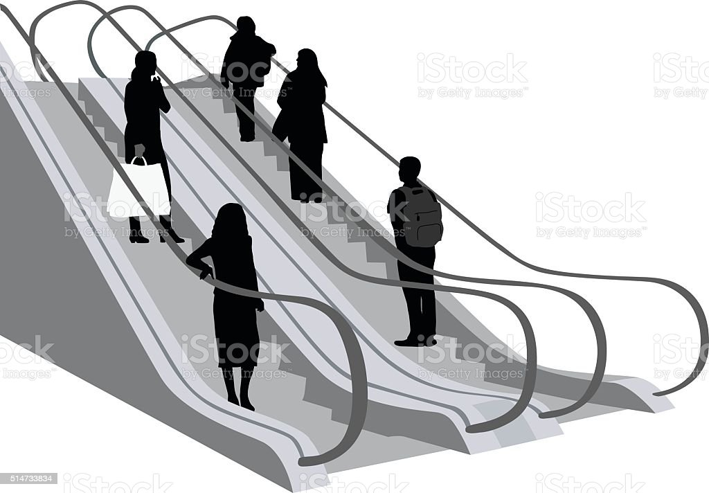 Escalator Crowd vector art illustration