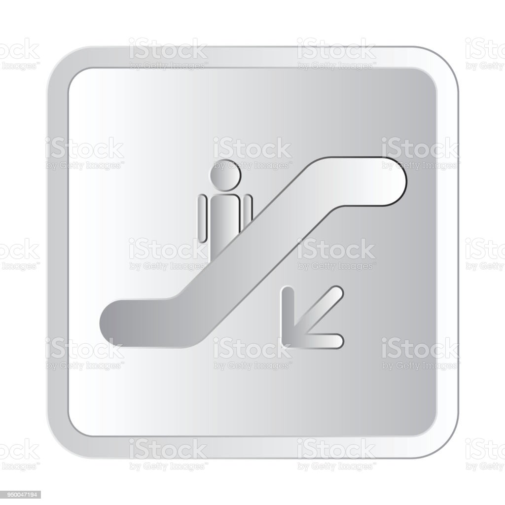 Escalator down the left silver icon sign vector illustration silver icon sign vector illustration vector art illustration