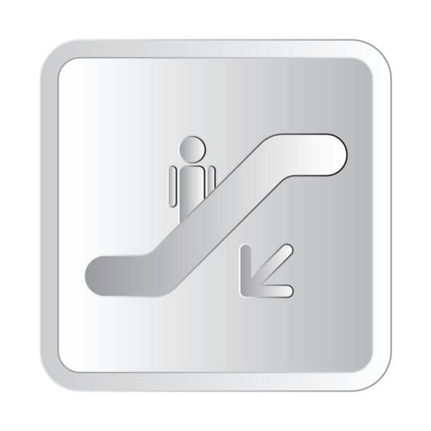 Escalator down the left silver icon sign vector illustration silver icon sign vector illustration vector art illustration