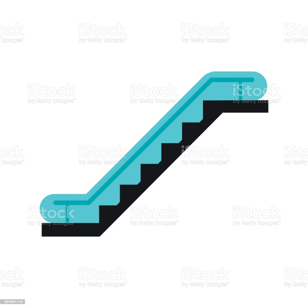 Escalator icon flat vector art illustration