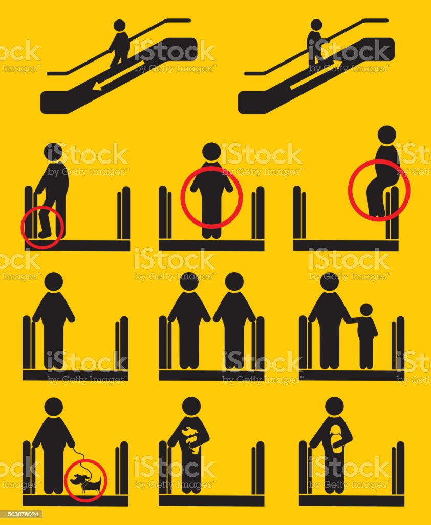 Escalator icons vector art illustration