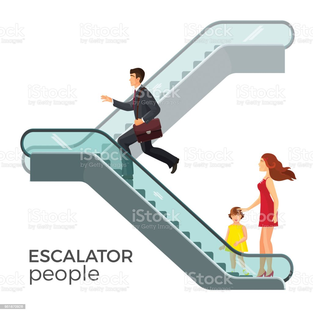 Escalator moving staircase consisting of endlessly circulating steps vector art illustration