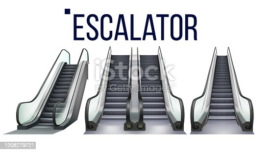 Escalator Stairway Electronic Equipment Set Vector. Collection Of Different Type Escalator For Transportation Human On Next Storey. Moving Ramp Stairs Concept Layout Realistic 3d Illustrations