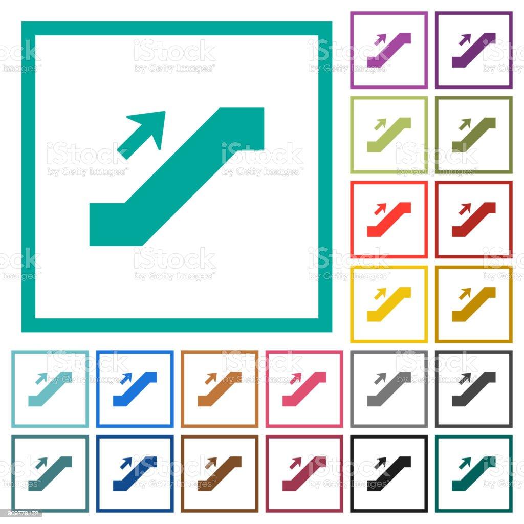 Rolltreppe Schild Flach Farbige Icons Mit Quadrant Frames Stock ...