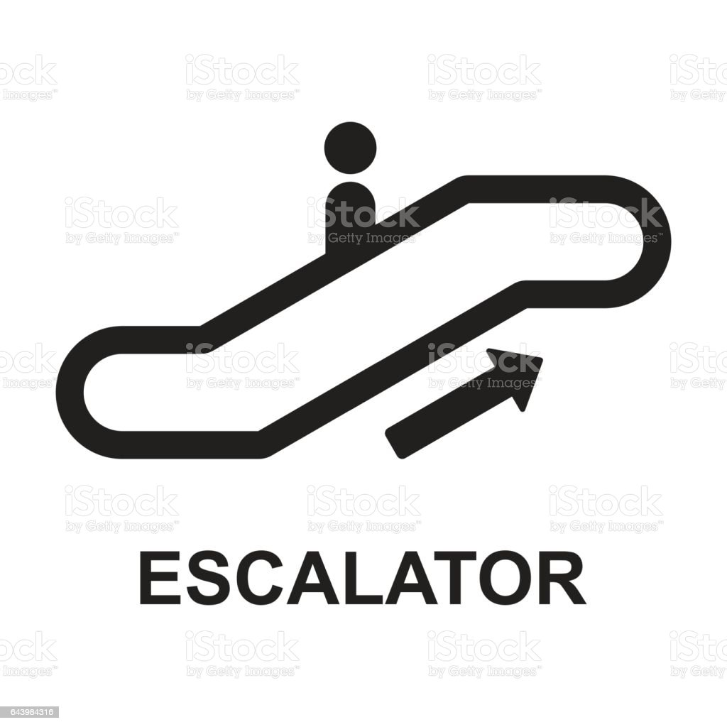 escalator up sign vector art illustration