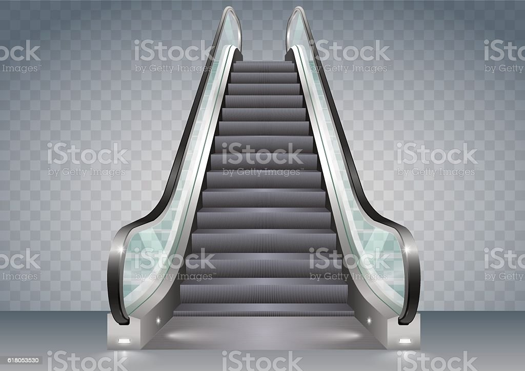 Escalator with clear glass vector art illustration