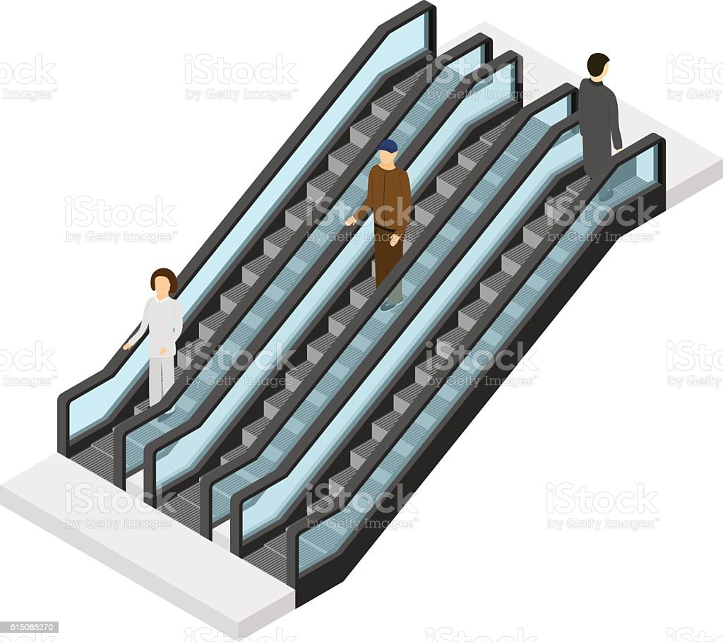 Escalator with People Isometric View. Vector vector art illustration
