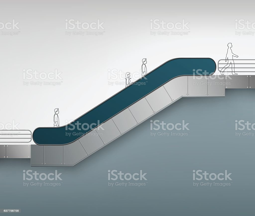 Escalator with Place for Advertising Side view vector art illustration