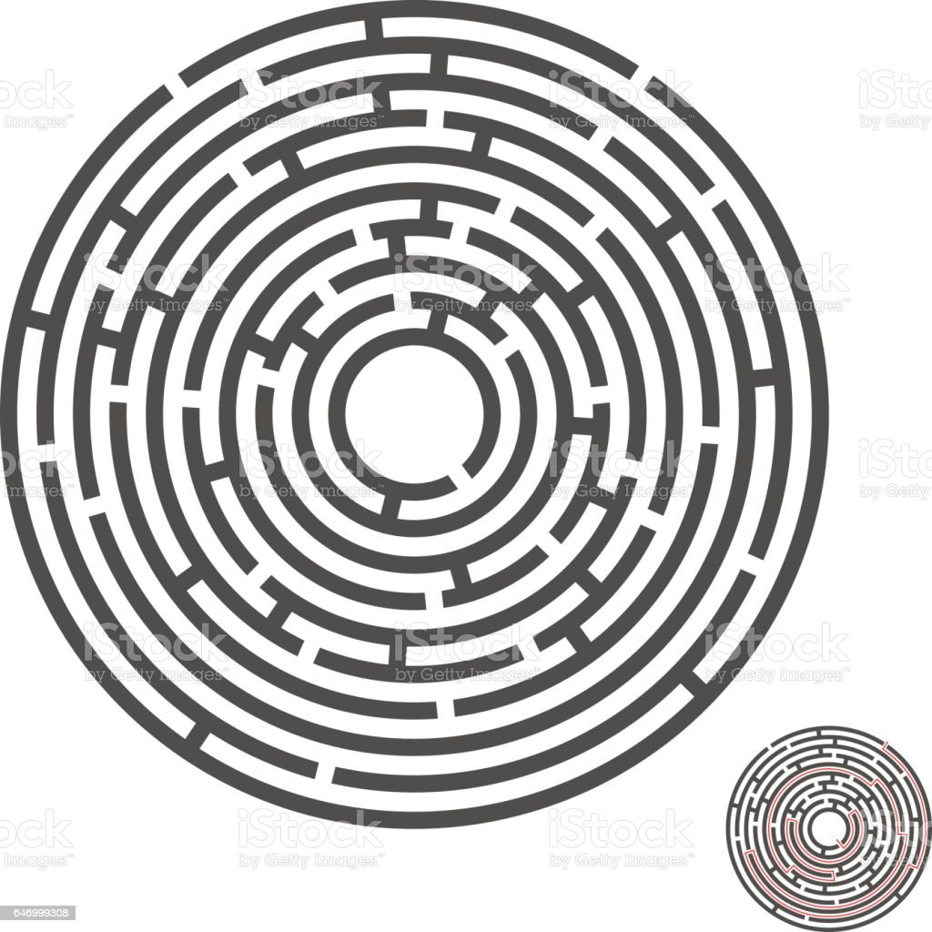 Escape Circle Labyrinth With Entry And Exitvector Game Maze Puzzle