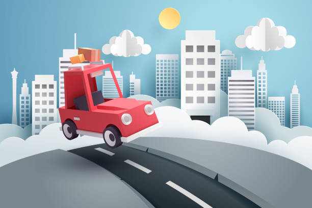 Escape from the city Escape from the city, Paper art of red car jumping on mound with the city at back, origami and travel concept, vector art and illustration. paper craft stock illustrations