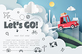 Escape from the city, Paper art of red car jumping on mound with Let's go text and journey doodle icon, origami and travel concept, vector art and illustration.