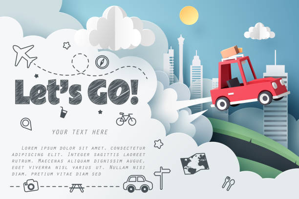 Escape from the city Escape from the city, Paper art of red car jumping on mound with Let's go text and journey doodle icon, origami and travel concept, vector art and illustration. adventure backgrounds stock illustrations