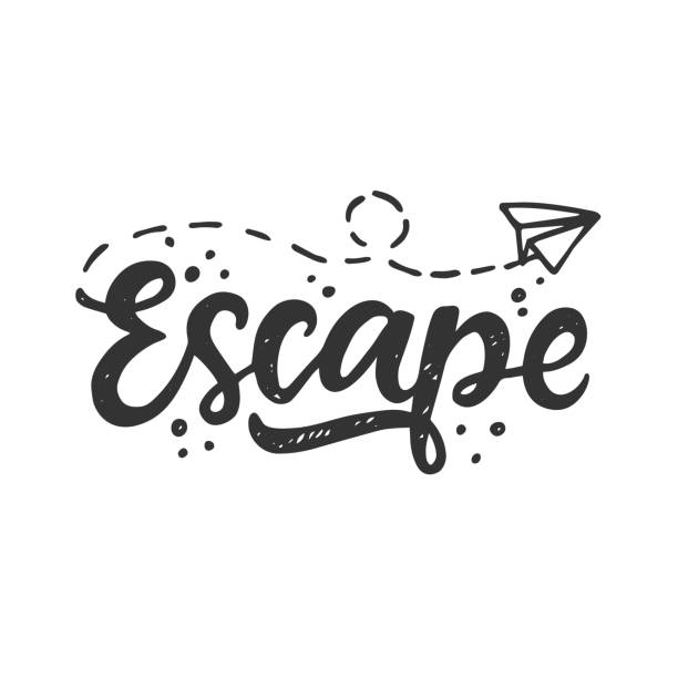 Escape. Hand drawn travel inspirational lettering Escape. Hand drawn travel inspirational lettering, isolated on white background. Typography poster, gift card, web banner, photo overlay, tee shirt print. Vector illustration escaping stock illustrations
