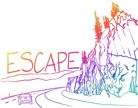 Escape Road Trip Highway Rainbow