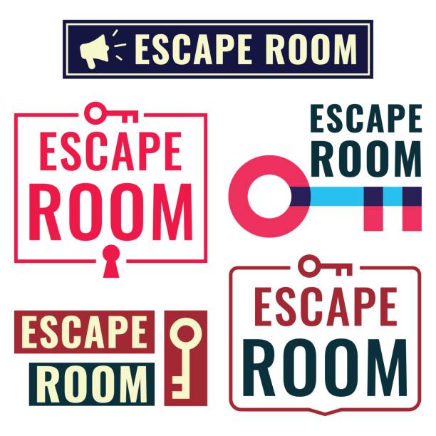 Escape room. Badge, icon, logo set. Vector illustrations on white background. Concept for game. escaping stock illustrations