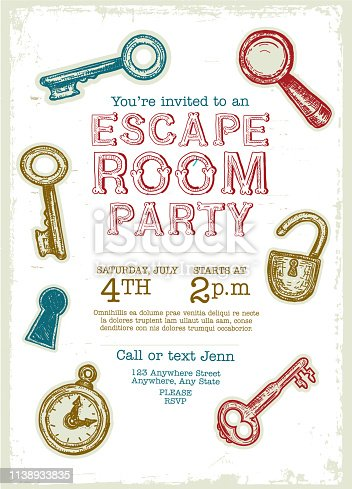 Vector illustration of a Escape Room Birthday Party Celebration invitation design template. Includes hand drawn elements such as lock, magnifying glass, stop watch, skeleton keys and key hole. Lot's of rustic textures. Fully editable EPS 10.
