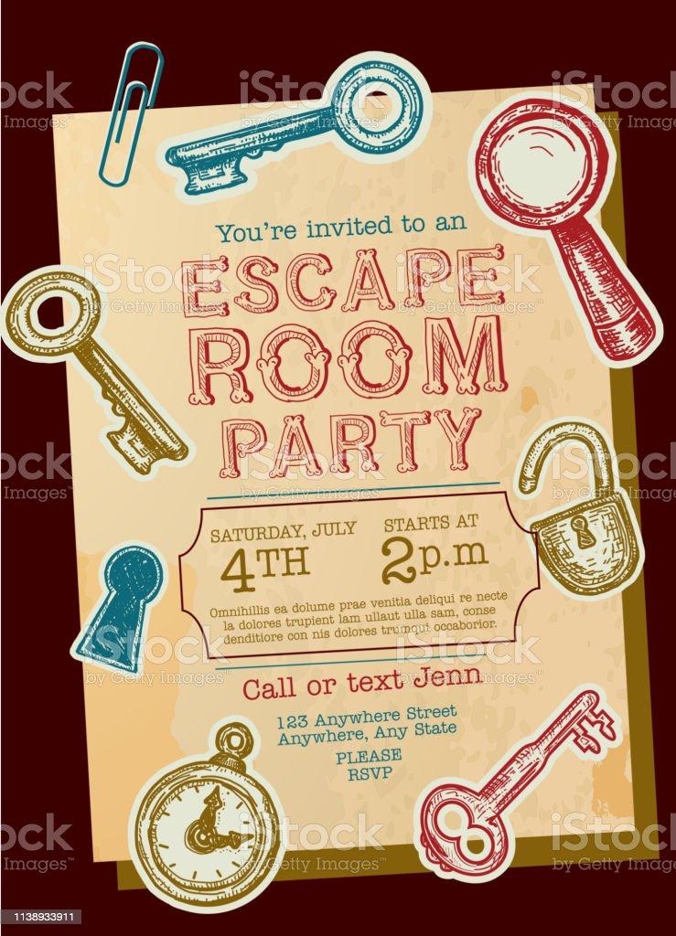 https www istockphoto com de vektor escape room birthday party feier einladung design vorlage gm1138933911 304259950