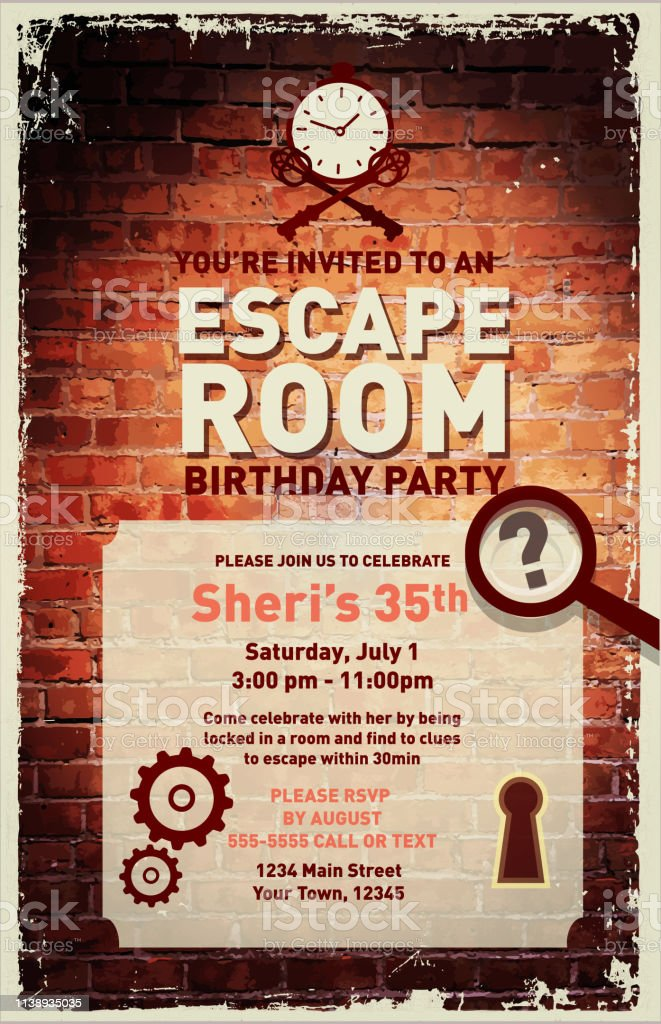 Room Design Layout Templates: Escape Room Birthday Party Celebration Invitation Design